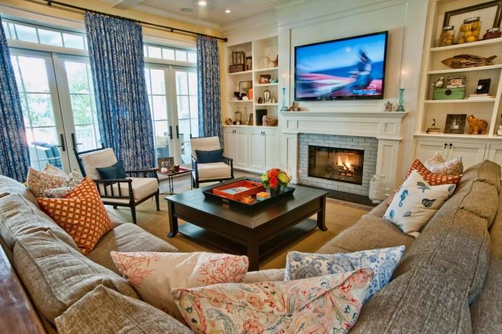 Кухня-гостиная с камином в частном доме: 50 лучших фото дизайна