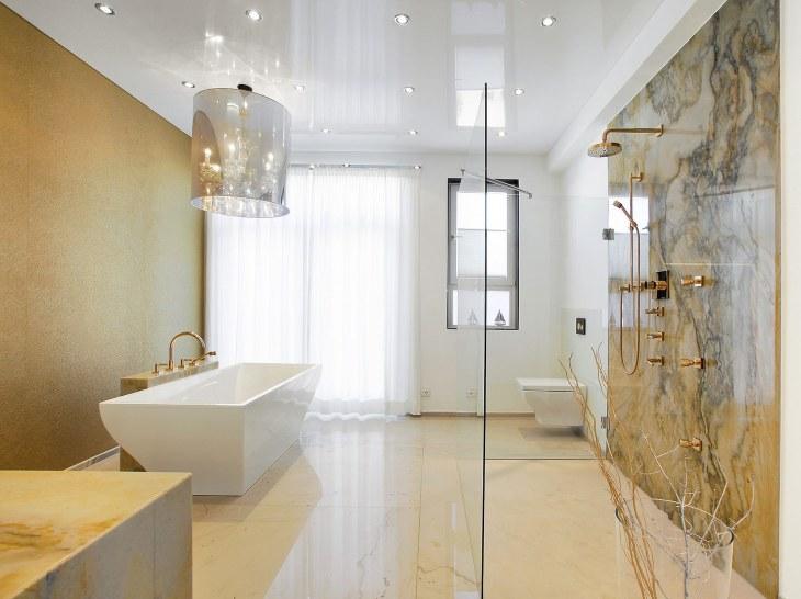 Натяжной потолок в ванной комнате фото готовых дизайнерских решений