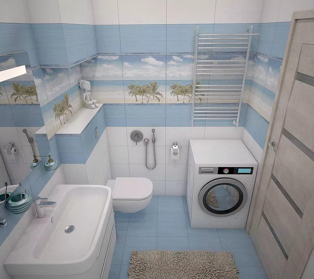 Дизайн ванной комнаты с туалетом и стиральной машиной 4 кв. м