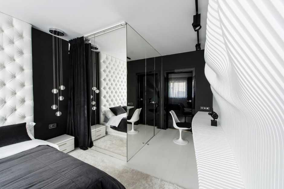 черно-белая спальня 20