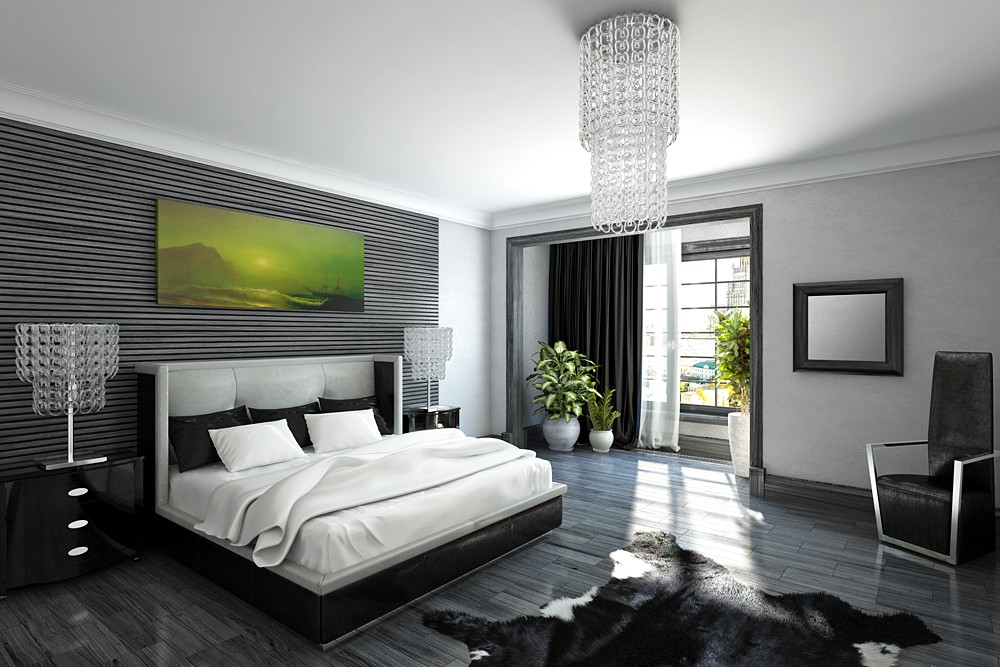 черно-белая спальня 28