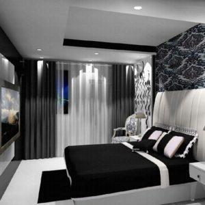 Современный дизайн спальни в черно-белых тонах