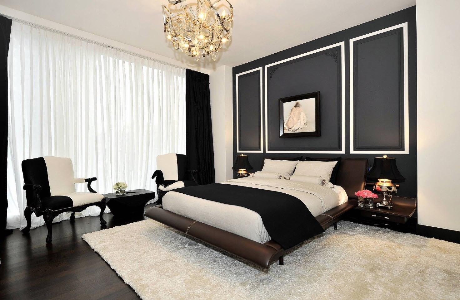 черно-белая спальня 4