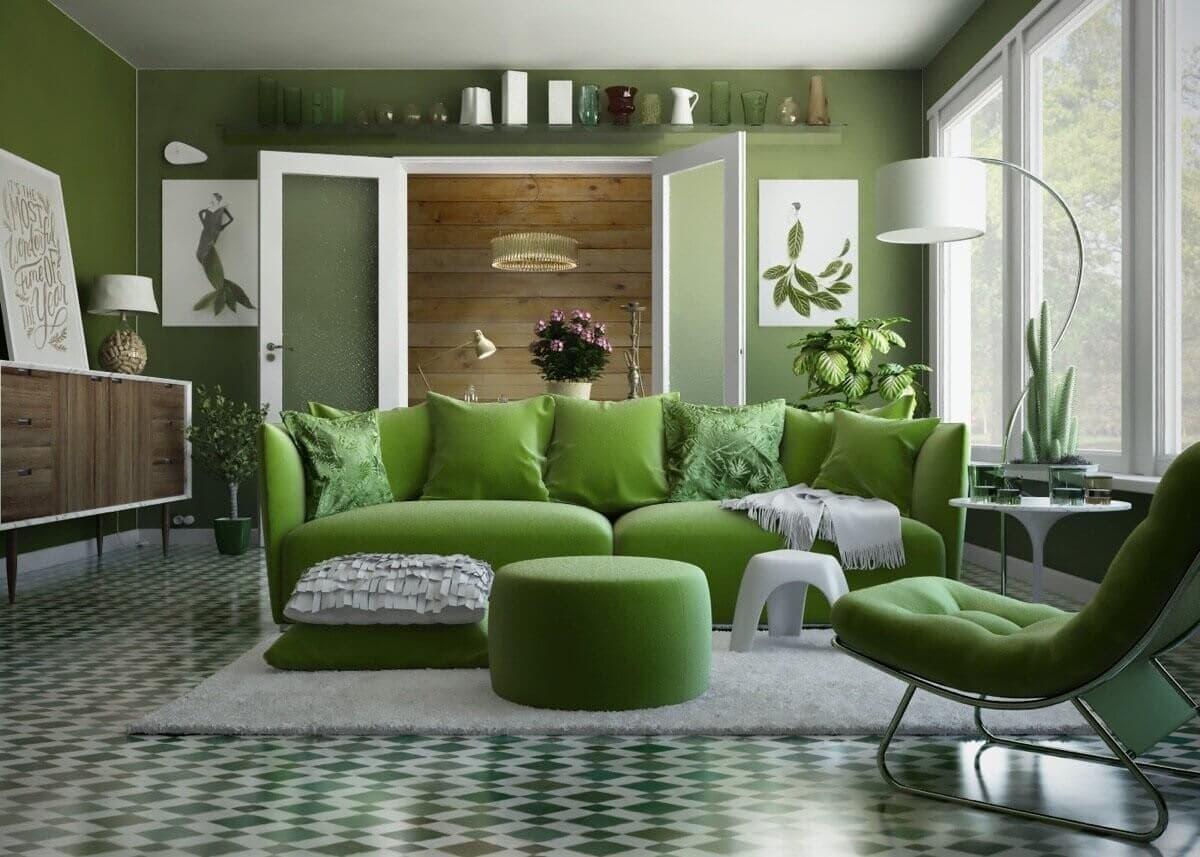 Как красиво оформить гостиную в зеленом цвете