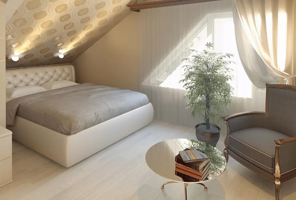 Как обустроить спальню на мансарде в современном стиле