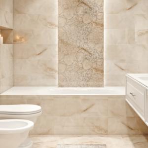 Современный дизайн ванной комнаты под мрамор